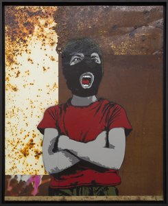 Dissident Alias Painting Collage, Graffiti, Spray paint on Metal