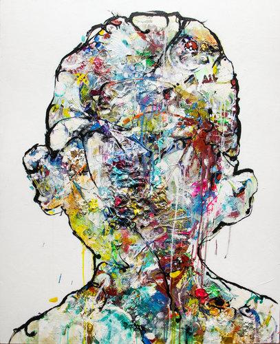Boy´s Big Head Jordi Machí Pittura Acrilico, Collage su Legno