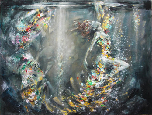 The Deep Jordi Machí Painting Acrylic, Collage on Wood