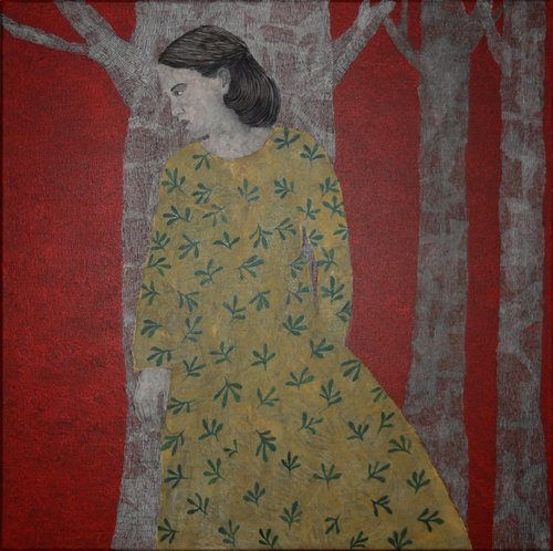 Cachée Cécile Duchêne-Malissin Painting Acrylic, India ink on Canvas