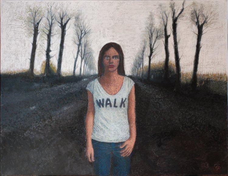 Sur la route Cécile Duchêne-Malissin Painting Acrylic, Oil pastel on Canvas