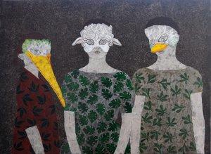Jeux d'enfants - Masques Cécile Duchêne-Malissin Peinture Acrylique, Encre de Chine sur Toile