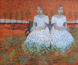 Jumelles Cécile Duchêne-Malissin Peinture Acrylique, Collage, Encre de Chine sur Toile
