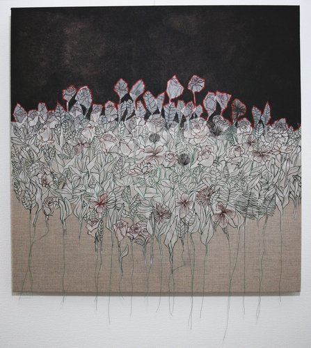 Prolifération I Cécile Duchêne-Malissin Painting Acrylic, India ink, Embroidery on Canvas