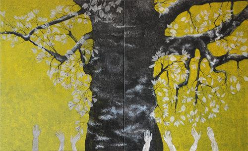 Renaissance Cécile Duchêne-Malissin Peinture Acrylique, Encre de Chine sur Toile