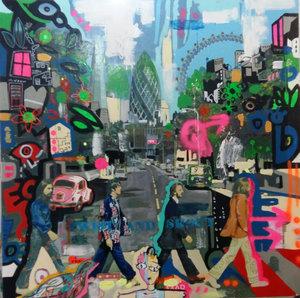 BEATLES NOW Xavier García Painting Oil, Graffiti, Tempera on Canvas