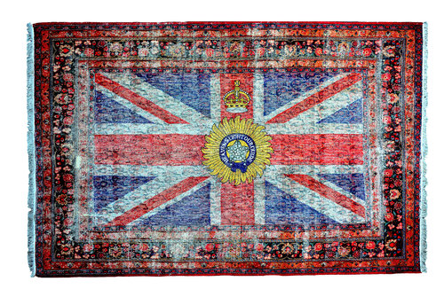 """""""The British Indian Viceroy's Flag, 1885"""" David Chalmers Alesworth Oeuvre textile Broderie sur Tissu"""