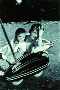 Schwarz/Weiss 2 Hugo Brülhart Peinture Huile, Fusain sur Toile