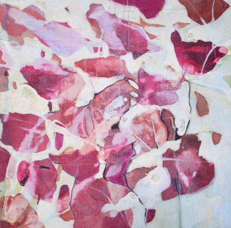Blütenblätter auf Wasser gelegt Sabine Jo Balerna Peinture Encre de Chine, Craie sur Papier