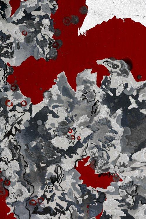 vuelo rojo 2 Mary Paz Cervera Malerei Acryl, Collage, Graphit, Vergoldung auf Leinwand