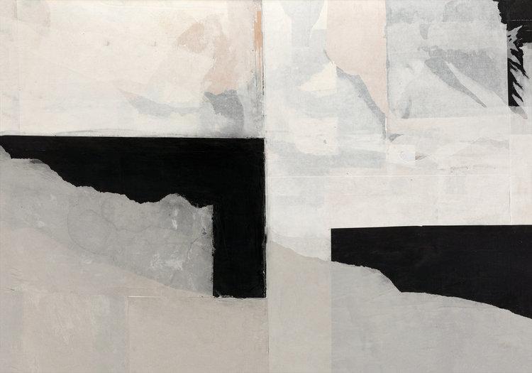 Grenzgang 2 Reingard Glass Papierarbeit Collage, Kreide auf Papier