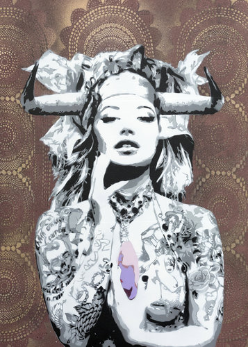 PINK STONE Christoph Fuhrken Painting Acrylic, Collage, Spray paint on Wood