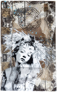 PX Christoph Fuhrken Painting Acrylic, Collage, Graffiti, Gilding on Wood