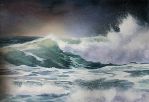 Sturm Welle Anke Gruss Malerei Aquarell auf Papier