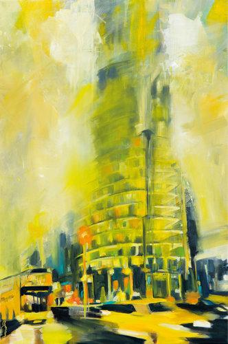 Yellow Lights Anke Gruss Malerei Öl auf Leinwand