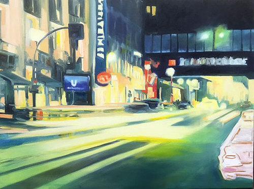 Night Lights III Anke Gruss Malerei Öl, Farbstift auf Leinwand