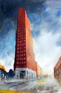 City Sky Anke Gruss Malerei Öl auf Leinwand