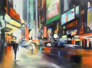 Orange rain Anke Gruss Malerei Öl auf Leinwand