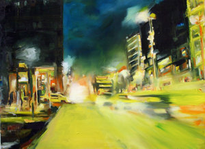 Blue city night Anke Gruss Malerei Öl auf Leinwand