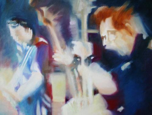 Helden Bluelight Anke Gruss Malerei Öl auf Leinwand