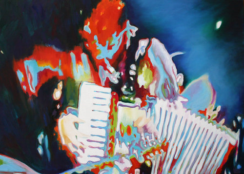 the accordeonist Anke Gruss Malerei Öl auf Leinwand