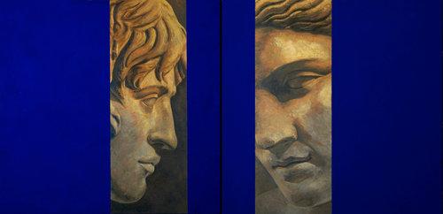 Acercamiento (diptico) Juan Manuel Álvarez Cebrián Painting Acrylic, Oil, Relief Printing on Canvas