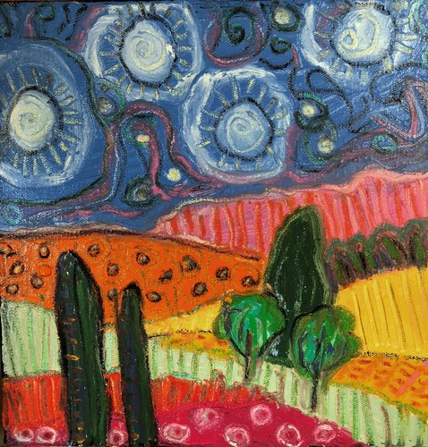 Starlight 2 Jeff Ferst Painting Oil Pastel On Canvas