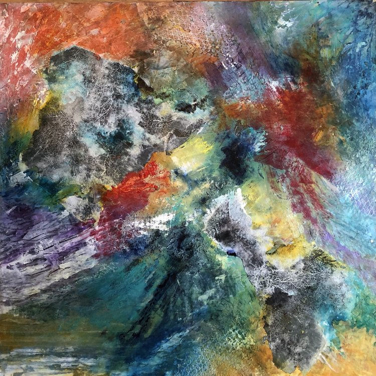 Gemme Timu Peinture Huile, Collage, Encre de Chine sur Bois
