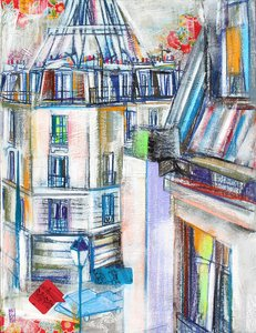 Jour allongé Olivier Anicet Painting Oil, Collage, Wax, Oil pastel on Canvas