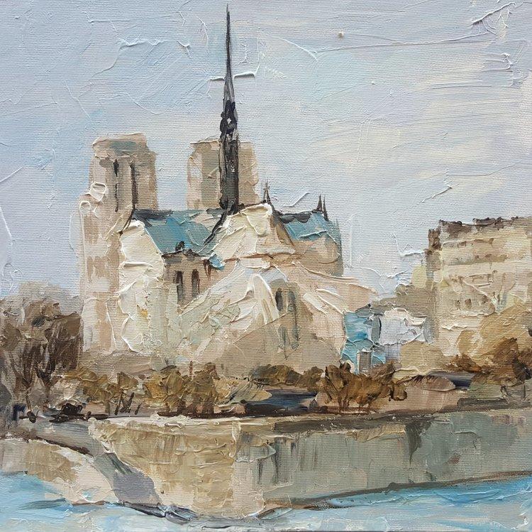 Vue De Notre Dame De Olga Novokhatska 2018 Peinture Acrylique