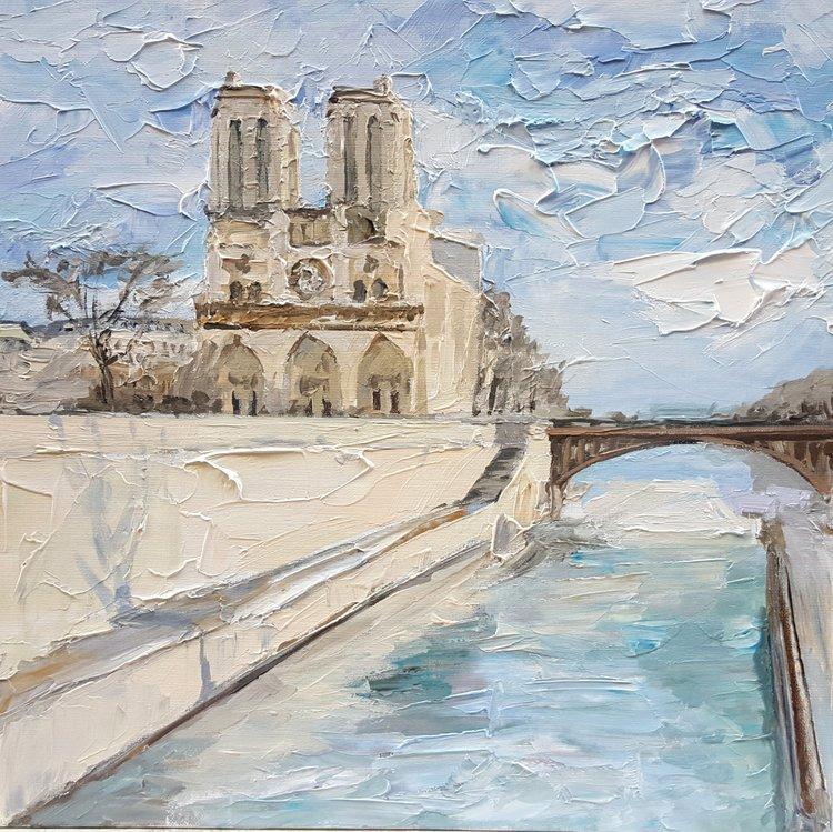 Notre Dame De Olga Novokhatska 2018 Peinture Acrylique Sur Toile