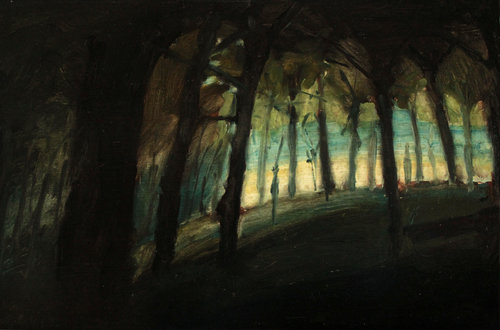 Dark Woods 3 Russell Gilder Painting Oil on Wood