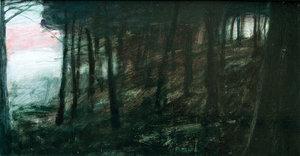Dark Woods 11 Russell Gilder Painting Oil on Wood