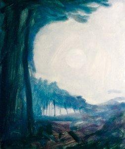 Sunrise (Mortimer Woods) Russell Gilder Painting Oil on Wood