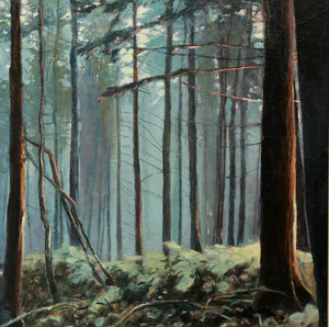Luna Woods Russell Gilder Painting Oil on Wood