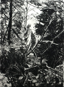 Angel in Woods Russell Gilder Drawing Charcoal on Paper