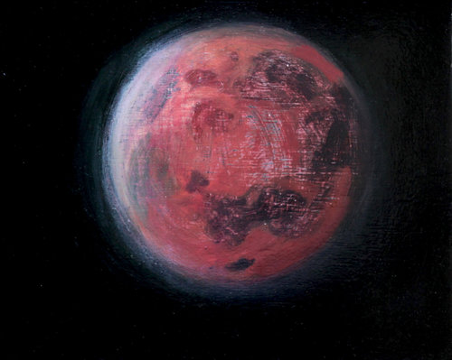 Luna - Red Russell Gilder Painting Oil on Wood