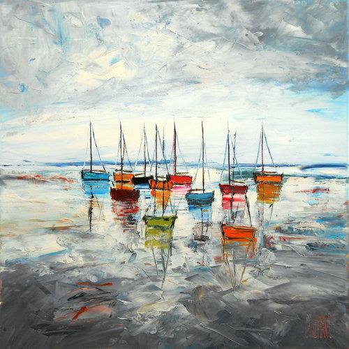 Bateaux sur la grève. de Michaël Lefèvre (2018) : Peinture Huile sur ...