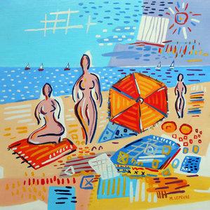 La plage Michaël Lefèvre Painting Oil on Paper