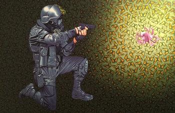 Crowd Control Stephen Hall Peinture Acrylique sur Toile