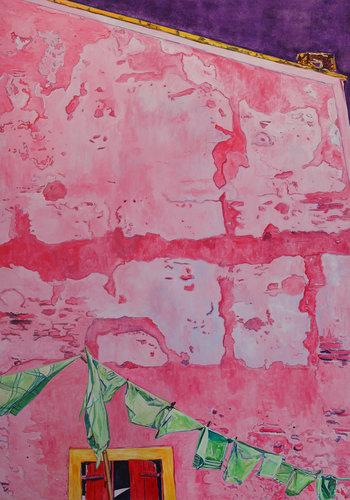 Pink house wall with laundry Sylvia Vandermeer Peinture Huile, Tempera, Pigments sur Toile