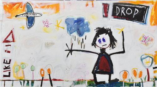 LIFE IS LIKE A RAINDROP Hari Beierl Malerei Öl, Kreide auf Leinwand