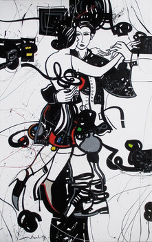 MILONGA SENTIMENTALE Jean Louis Mendrisse Peinture Acrylique, Huile sur Lin