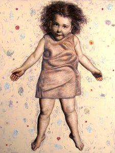 Child in Flight Francisco Benitez Peinture Cire sur Bois