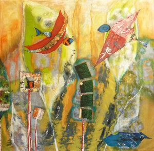 conversation sauvage - crépuscule Véronique Egloff Peinture Acrylique, Collage sur Tissu