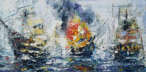 Bataille navale Paul Anastasiu Painting Oil on Canvas