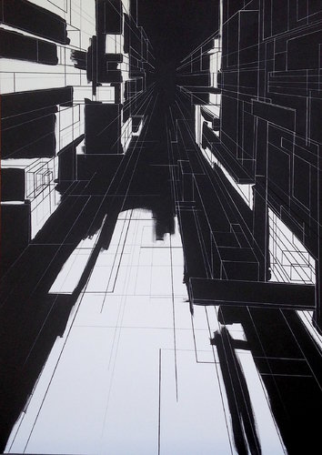 Perspective Marion Moulin Painting Acrylic, Felt, Ink on Canvas