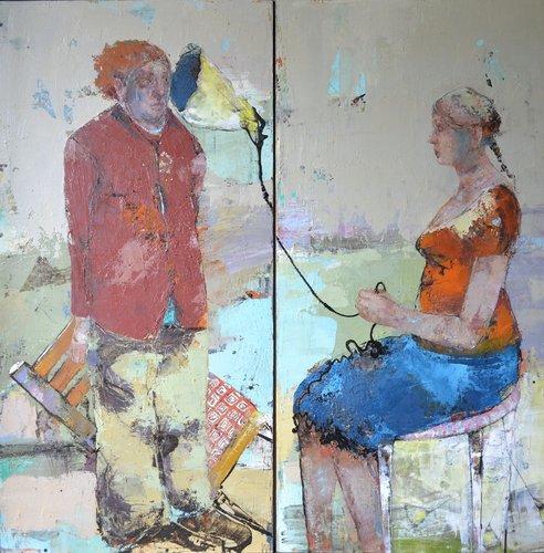 Sous la jupe Valérie Jayat Peinture Huile, Crayon, Encre de Chine, Encre sur Toile
