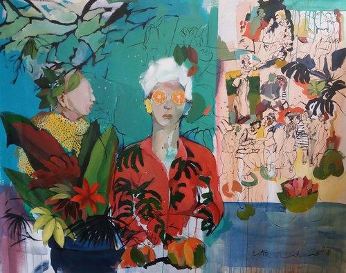 Dans l'ombre des autres Golnaz Afraz Peinture Acrylique, Huile, Crayon sur Toile