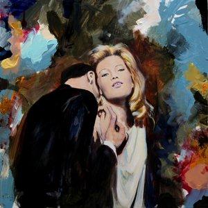 """Sur son cou fragile où quelques notes de """" l'air du temps"""" de Ricci, venaient envahir sa peau, Vittoria avait bien senti avant que les lèvres de Piero viennent se déposer,quelques larmes chaudes tomber et glisser jusqu'à son épaule.""""Sì, sono innamorata di François Pagé Painting Oil on Canvas"""